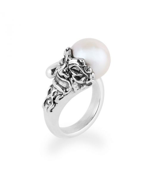 Ring with pearl and mask (27784)