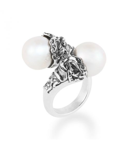 Contrarié Ring with pearls and masks (27785)