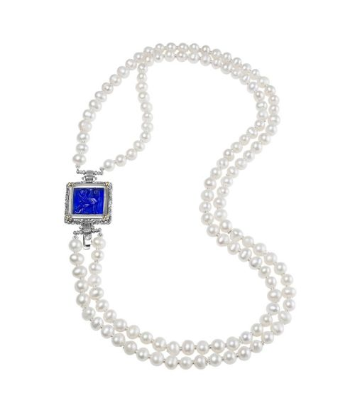 Pearl Necklace and Blue Glass Paste (27721BL)