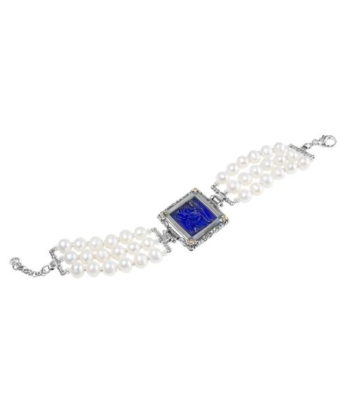 Pearl Bracelet and Blue Glass Paste (27722BL)