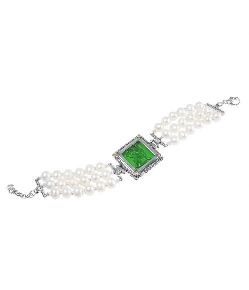 Pearl Bracelet and Green Glass Paste (27722VE)
