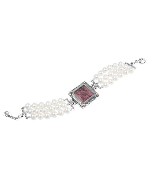 Pearl Bracelet and Purple Glass Paste  (27722VI)