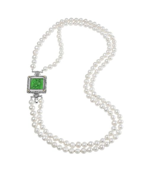 Pearl Necklace and Green Glass Paste (27721VE)