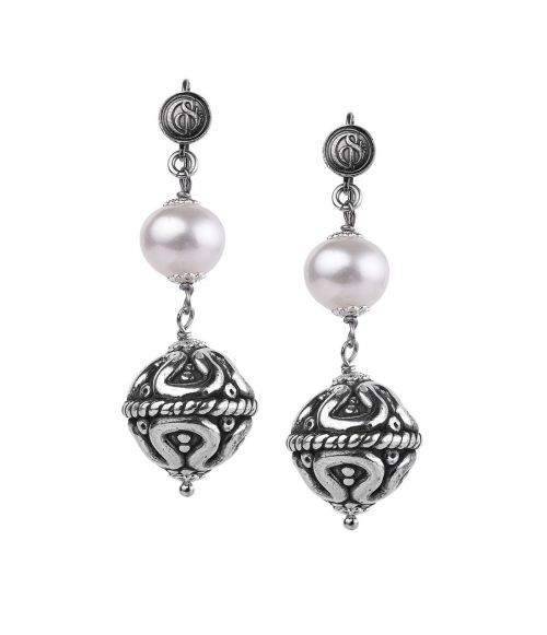 Pearl Earrings with Sinacles (27165Bb)