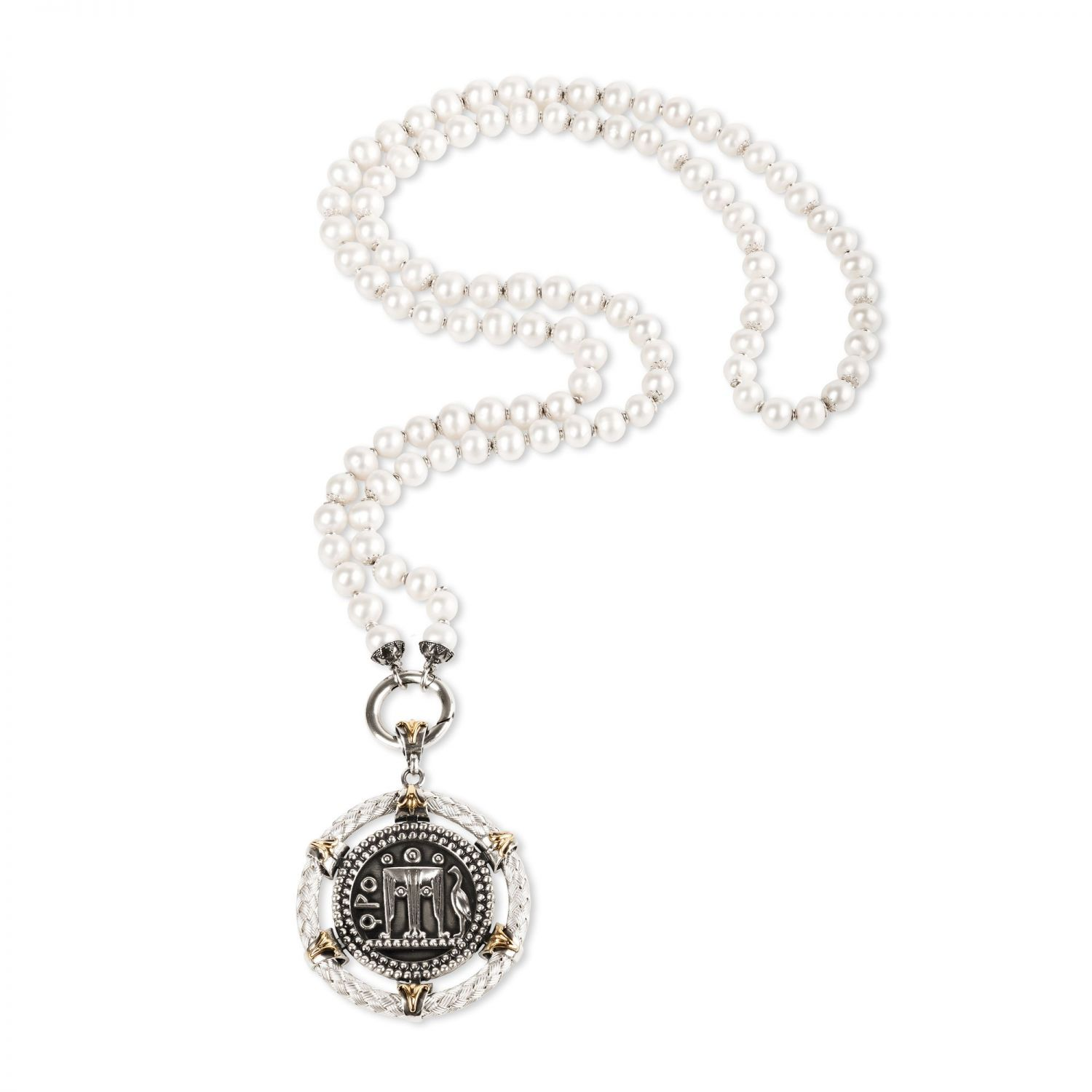 Collana Chanel di Perle con ciondolo Moneta (27859)