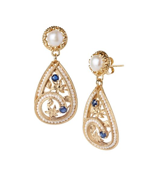 Gold Earrings with Pearls and precious Stones (14276)