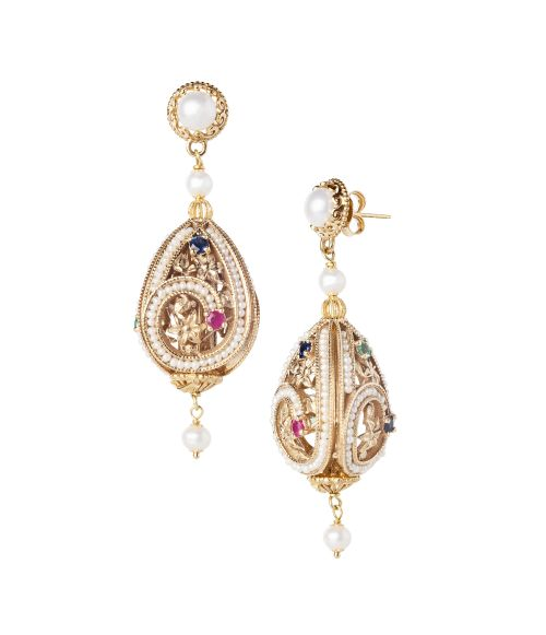 Gold Earrings with Pearls and precious Stones (14274)