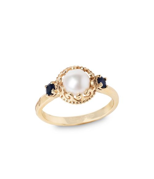 Gold Ring with Pearls and precious Stones (14280)