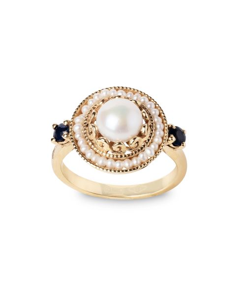 Gold Ring with Pearls and precious Stones (14281)