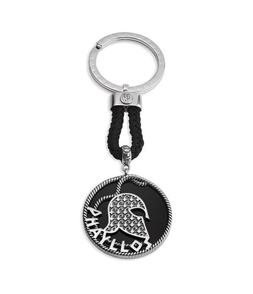 Phayllos Keyring with helmet on round onyx (27882)