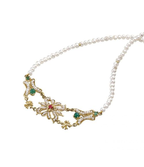 Gold Necklace with Pearls and precious Stones (13014)