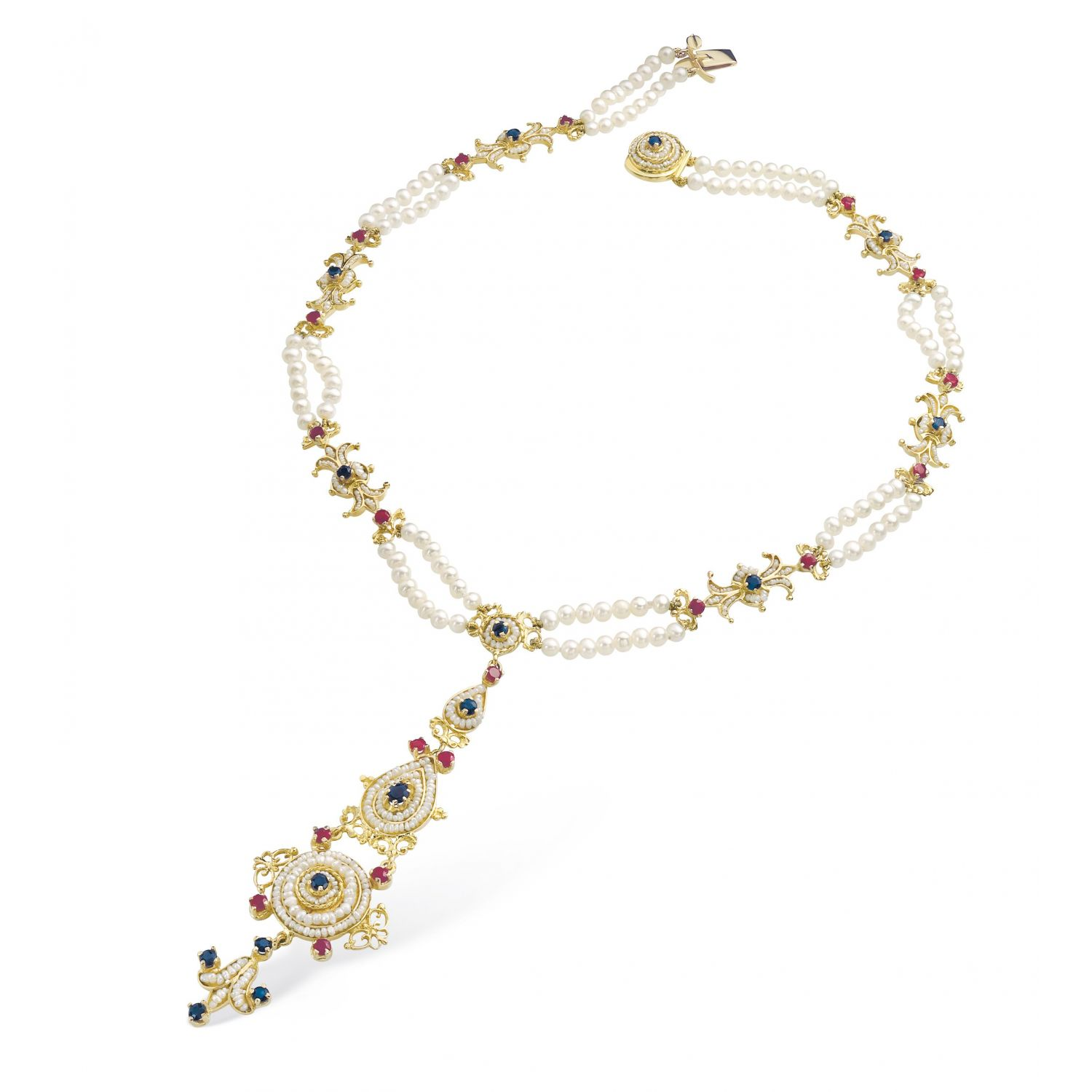 Gold Necklace with Pearls and precious Stones <span>13023</span>