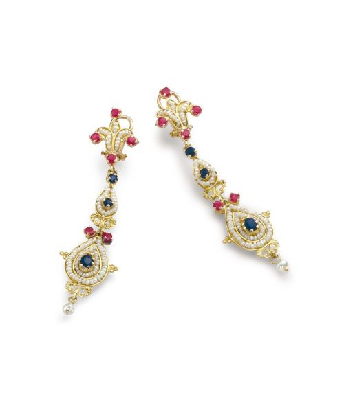 Gold Pendant Earrings with Pearls and precious Stones (14095)