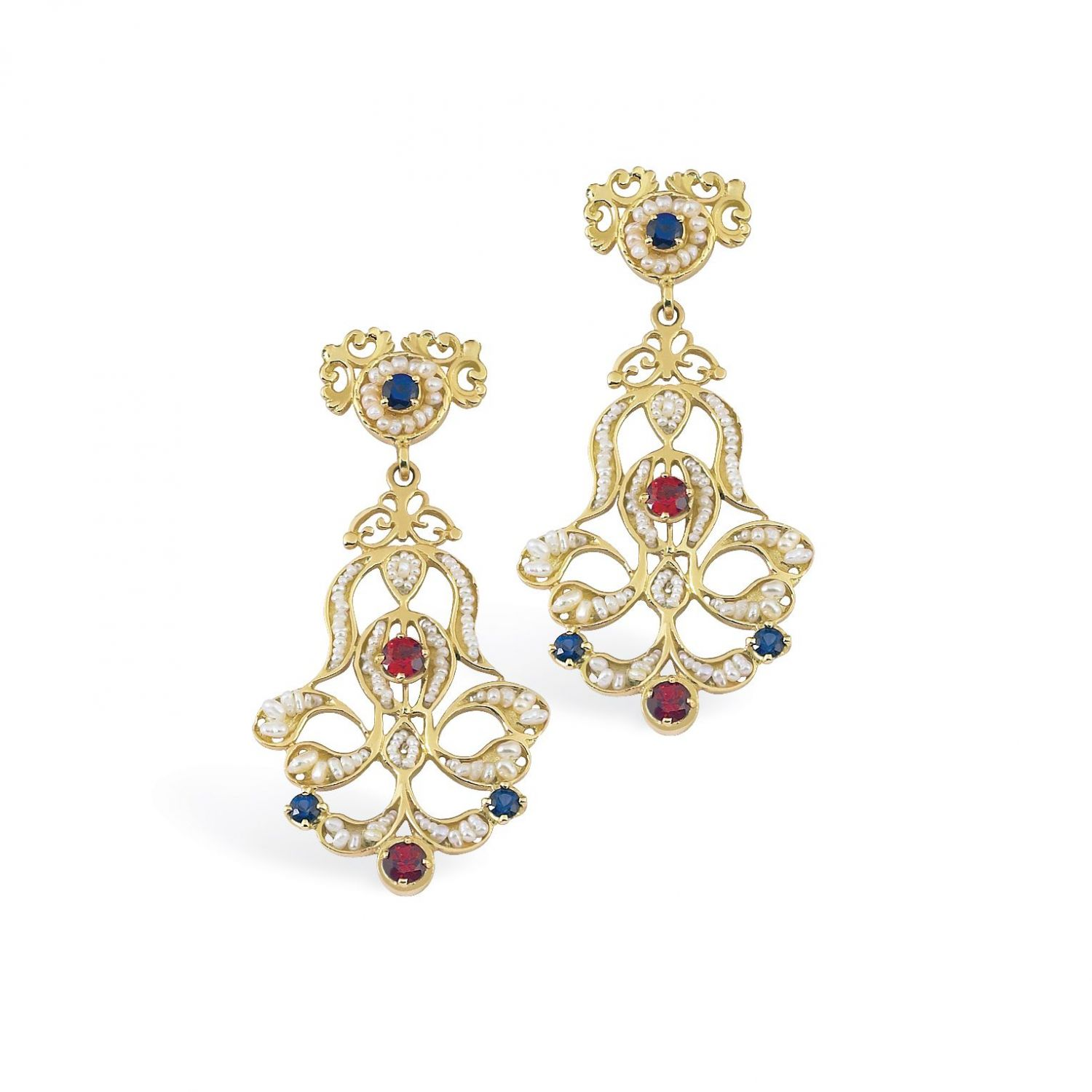 Gold Pendant Earrings with Pearls and precious Stones (14157)