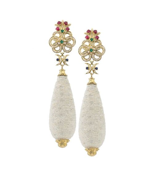 Gold pendant Earrings with Pearls and precious Stones (14204)