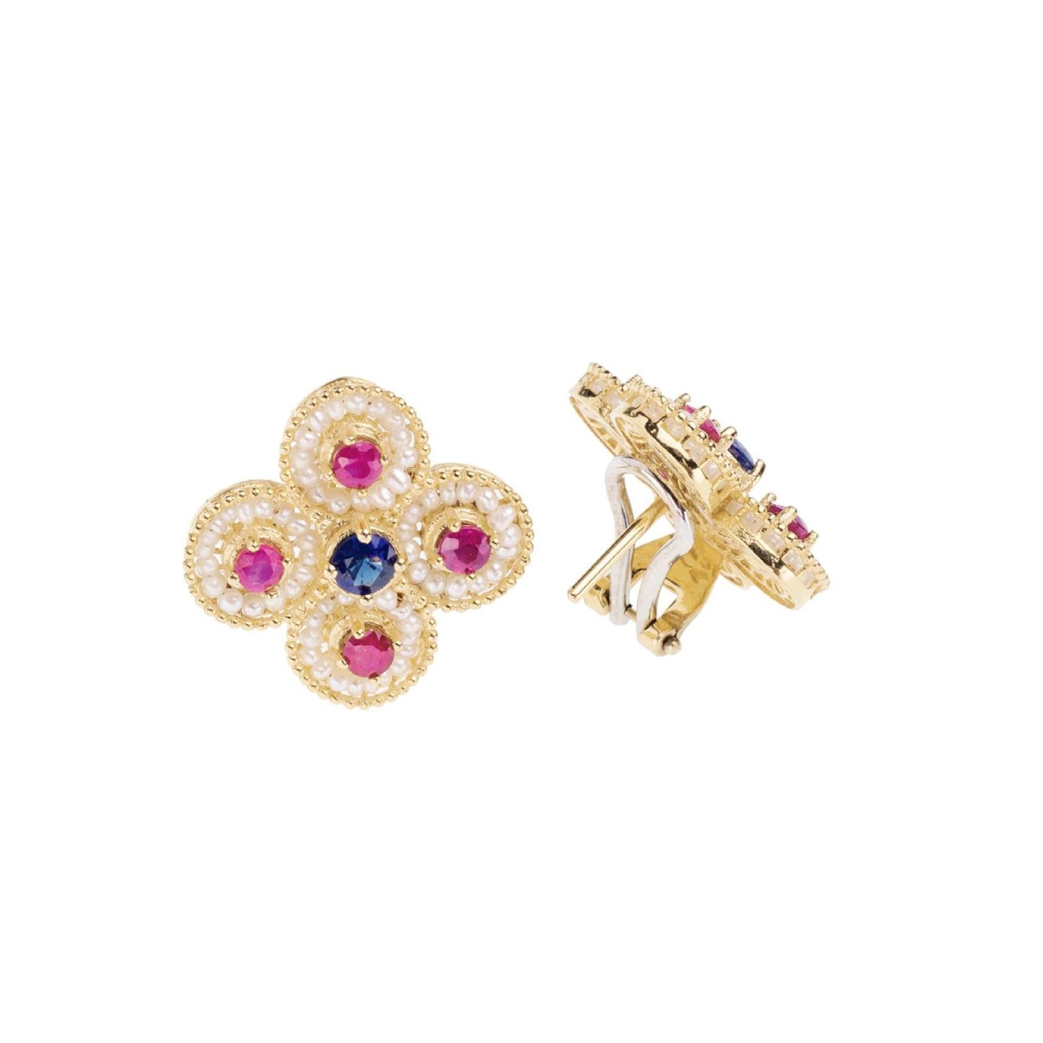 Gold Lobe Earrings with Pearls and precious Stones (14235)