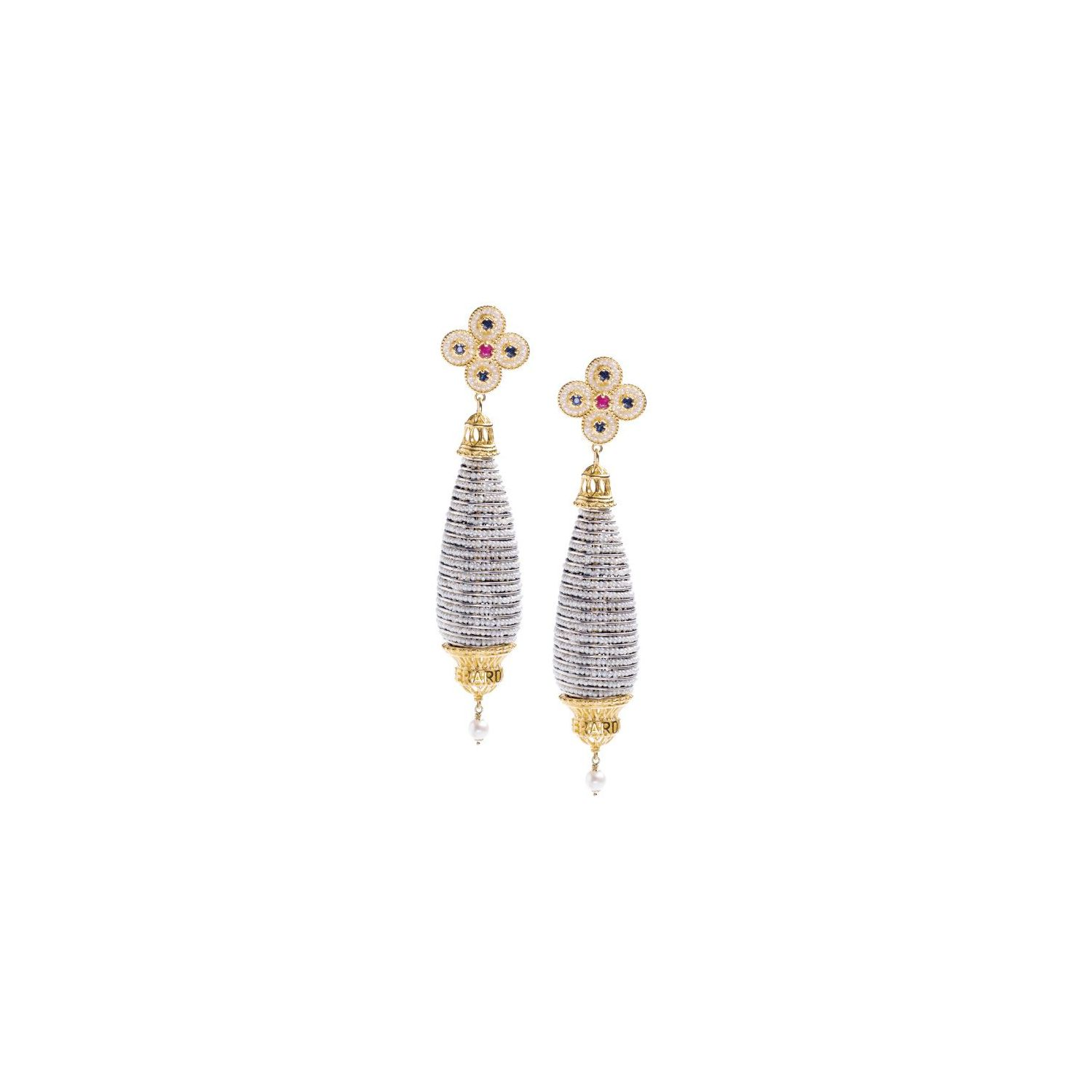 Pendant earrings with Pearls and precious Stones (14247)