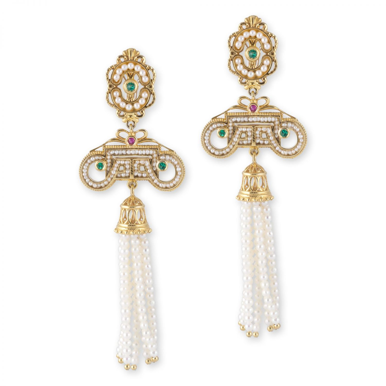 Gold pendant Earrings with Pearls and precious Stones (14265)