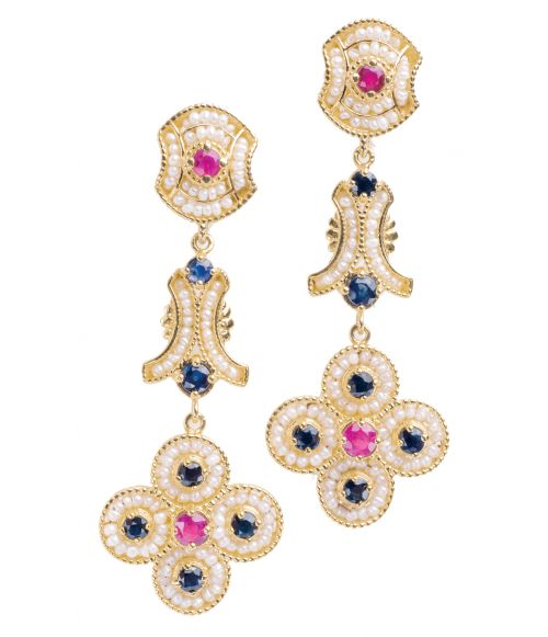 Gold pendant Earrings with Pearls and precious Stones (14234)