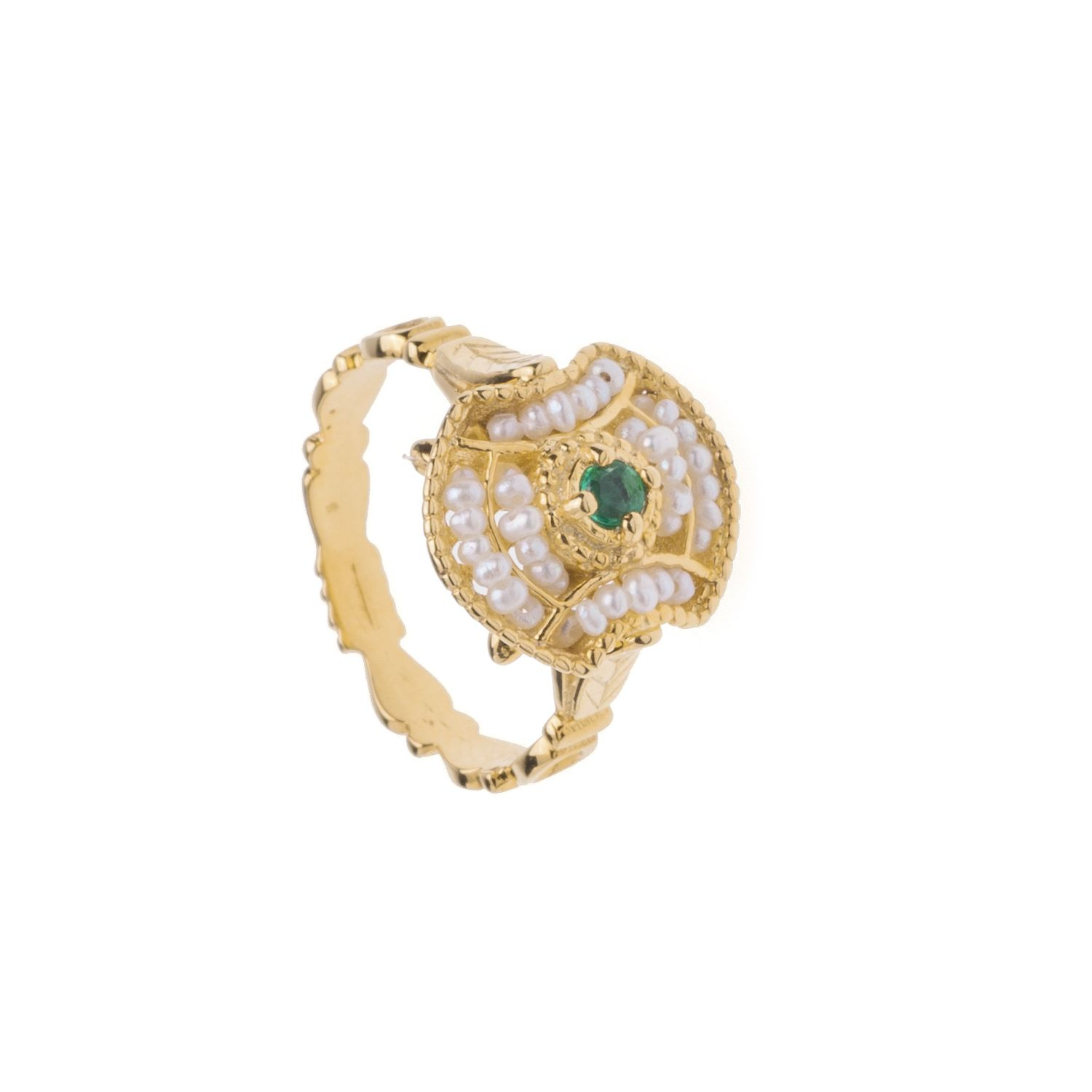 Gold Ring with Pearls and central Stone (14245)