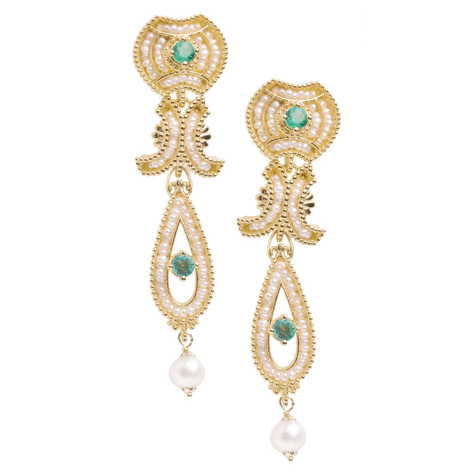 Pendant Earrings with Pearls and precious Stones (14237)