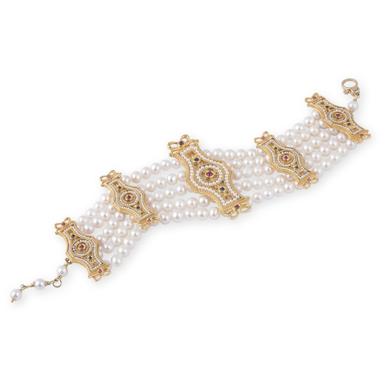 Gold Bracelet with Pearls and precious Stones (14270)