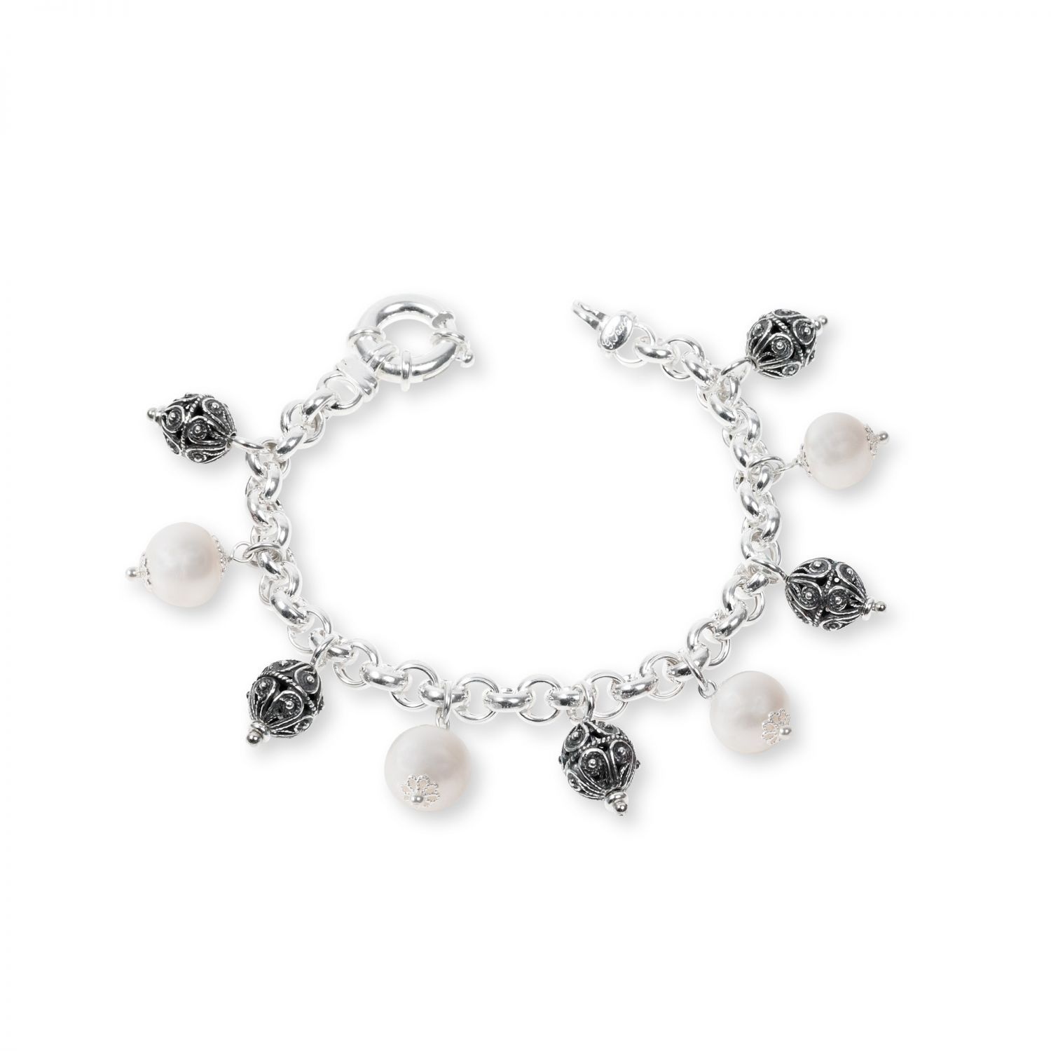 Silver Bracelet with pearls and sinacles (33133PB)
