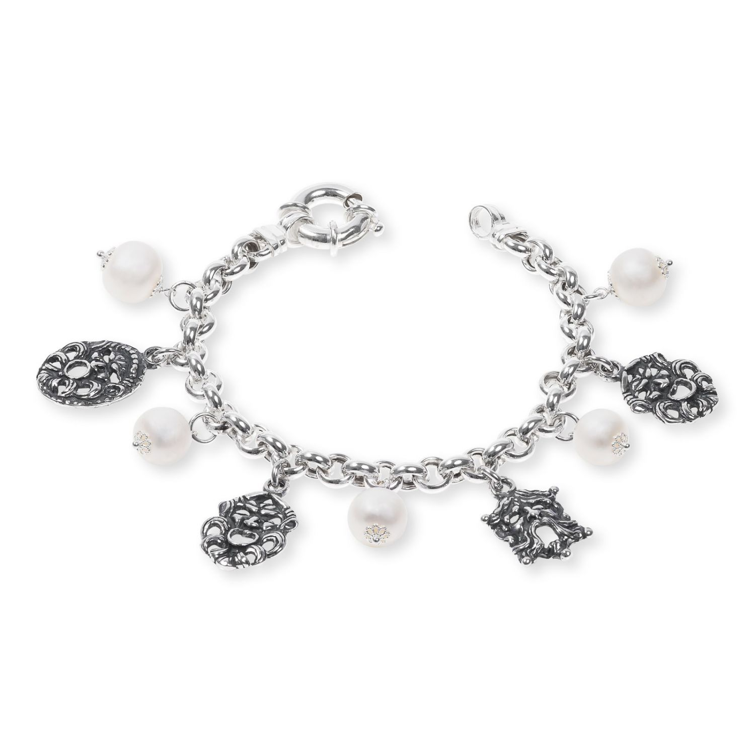 Silver Bracelet with pearls and masks (33687PB)