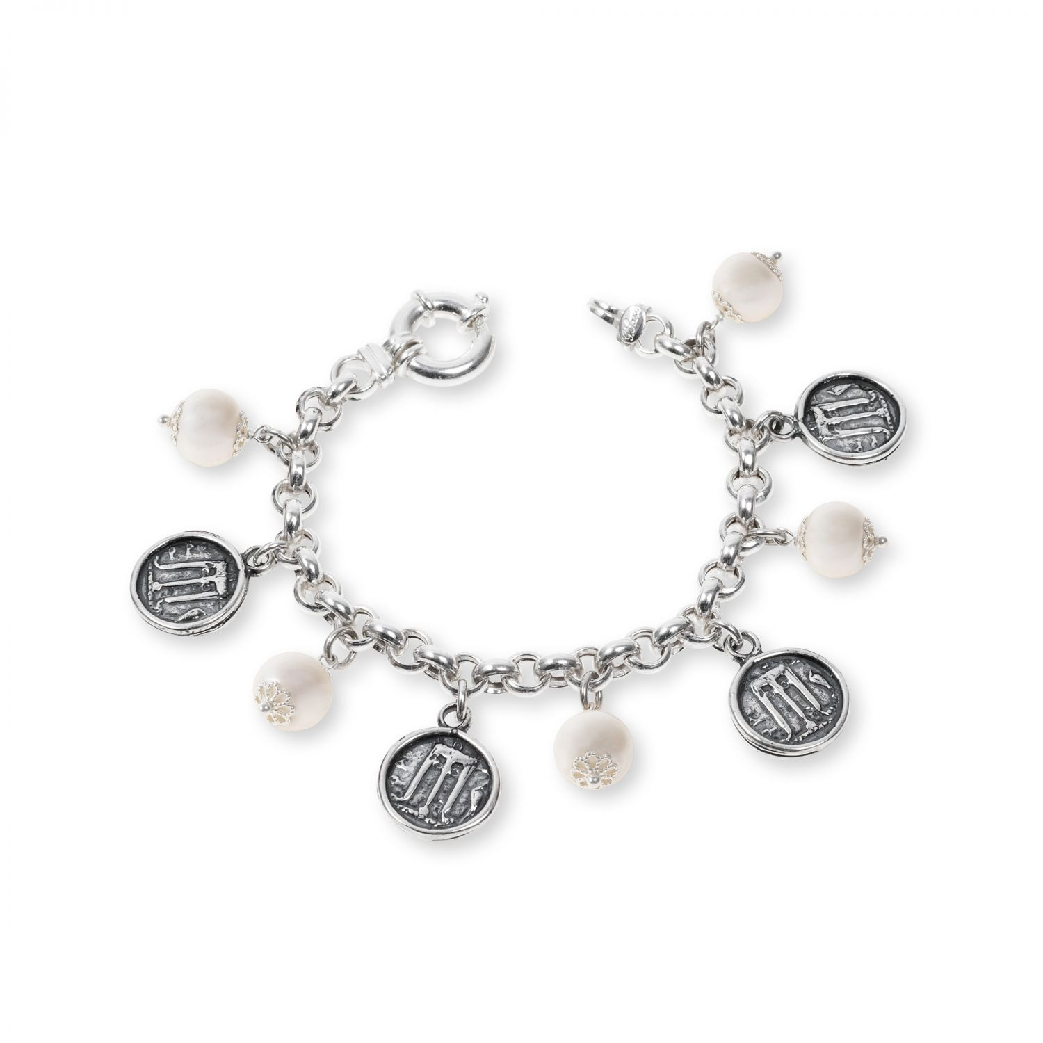 Silver Bracelet with pearls and coins (33132PB)