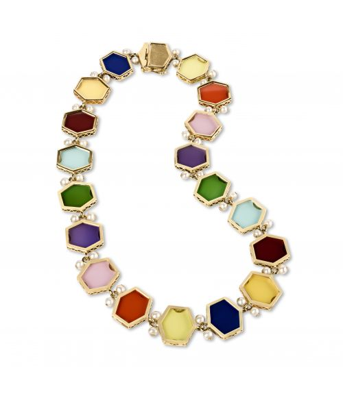 Gold Necklace with colored gemstones (14450A)