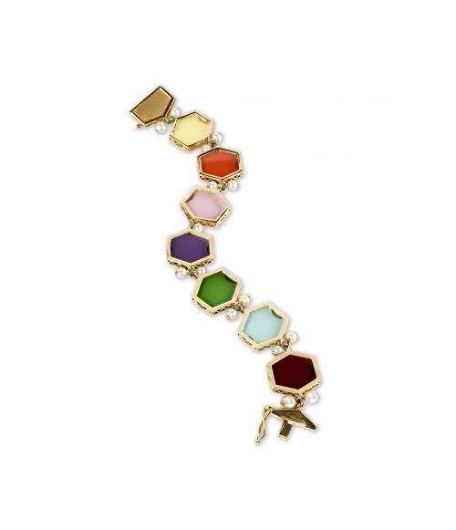 Gold Bracelet with colored gemstones (14421A)