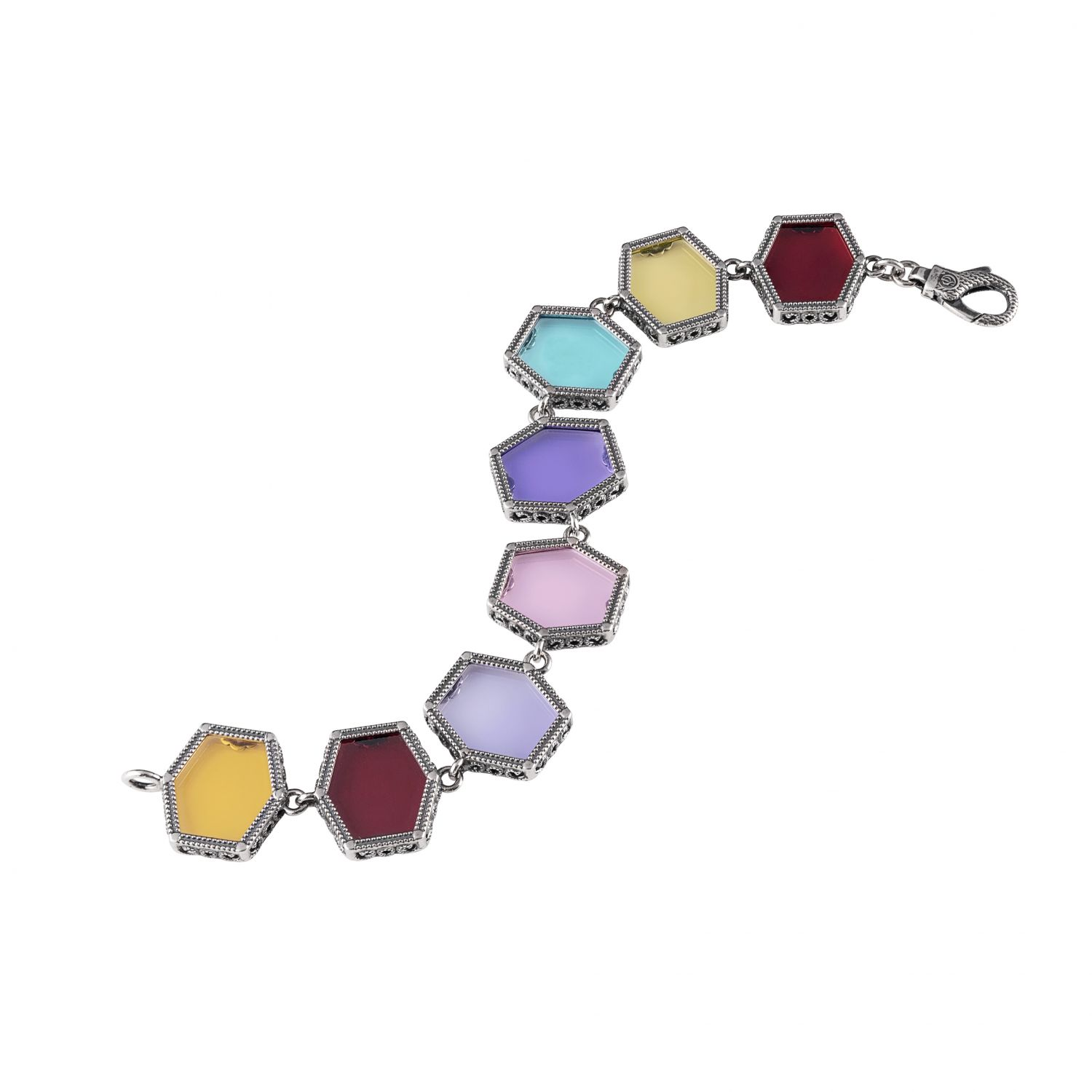 Silver Bracelet with colored gemstones (28022)
