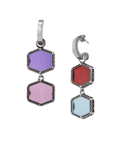 Silver Earrings with colored gemstones (28024)