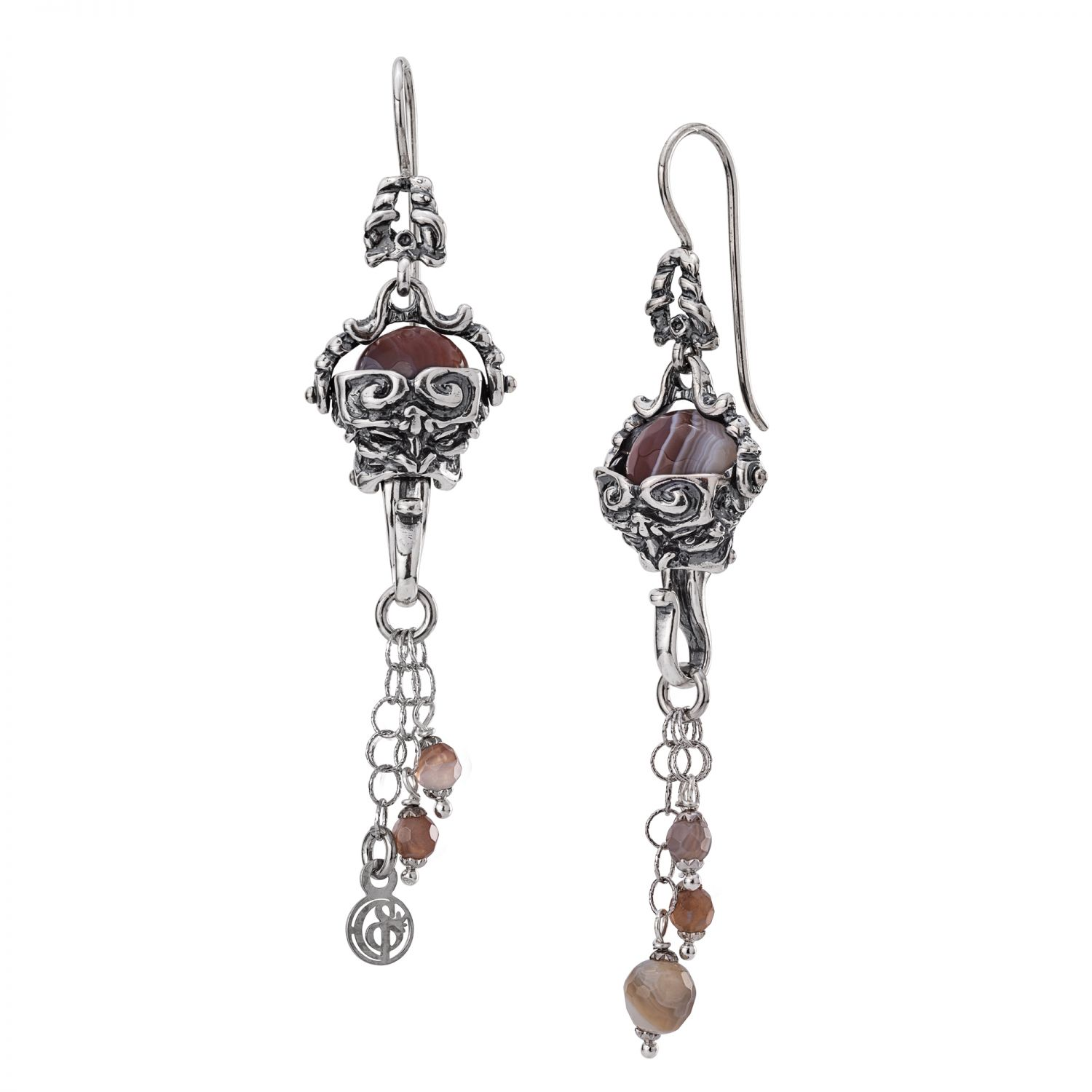 Silver Earrings with Agates and Mask (28027)