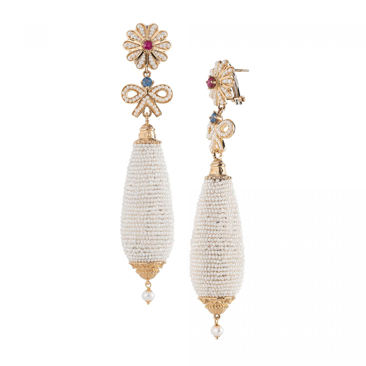 Gold pendant Earrings with Pearls and precious Stones (14205)