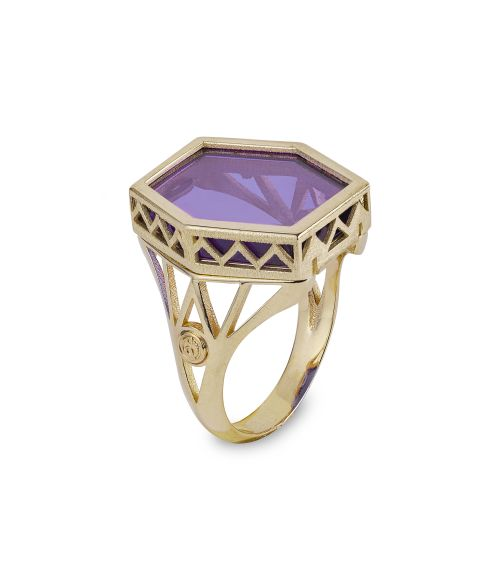 Gold Ring with colored gemstone (14449)