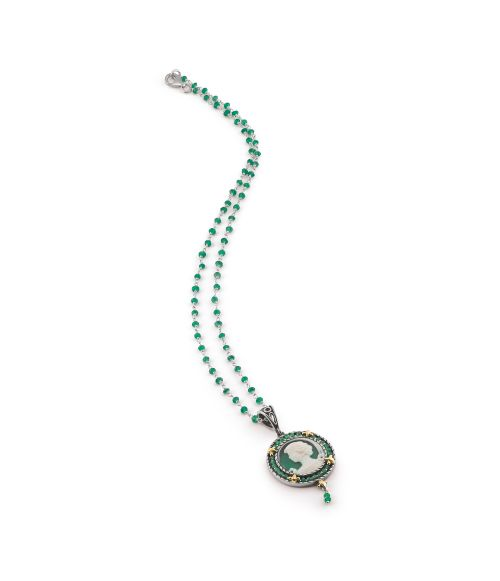 Necklace with colored round Cameo and Zircons (18374ve)