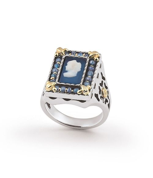 Ring with colored Cameo (19238az)