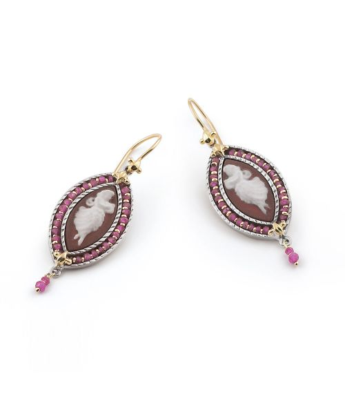 Earrings with colored Cameos and Zircons (19242ro)