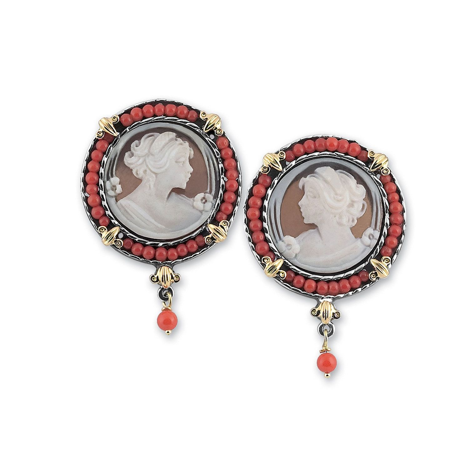 Earrings with round Cameos and Corals (18376)