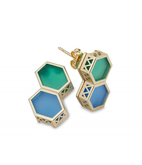 Two color gemstone Gold earrings (14452)