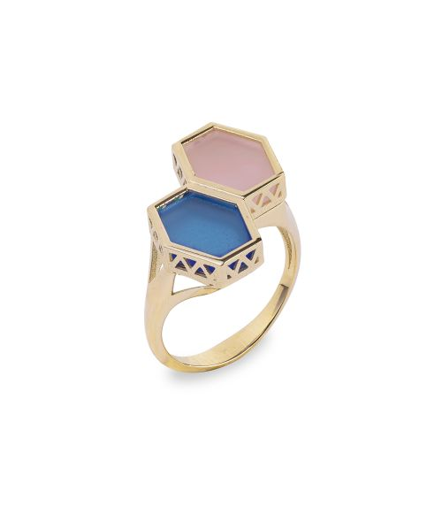 Two color gemstone Gold ring (14453)