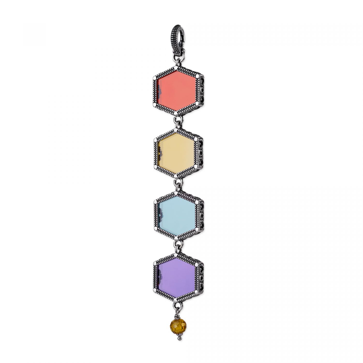Silver Pendant with colored gemstones (28025)