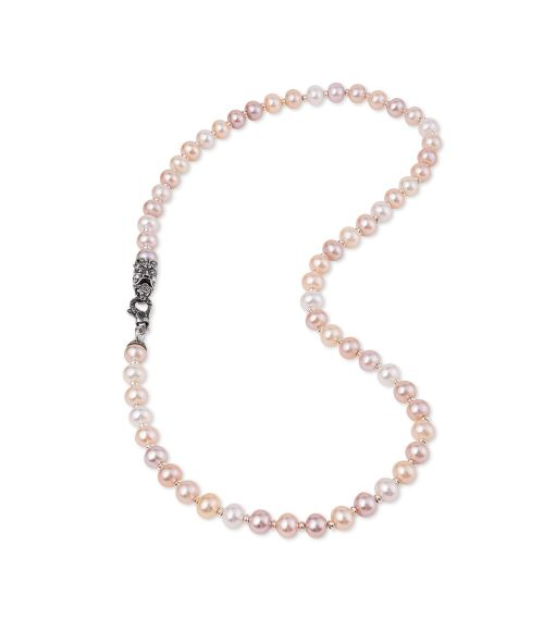Multicolor Pearls Necklace with Mask (28033p)