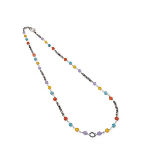 Byzantine link chain Neklace with colored gemstones (28038)