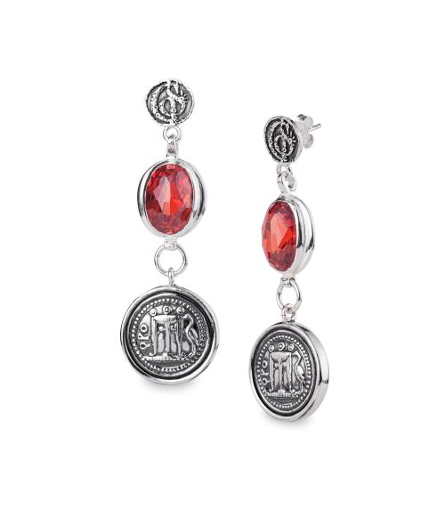 Earrings with gemstone and coin (50230)