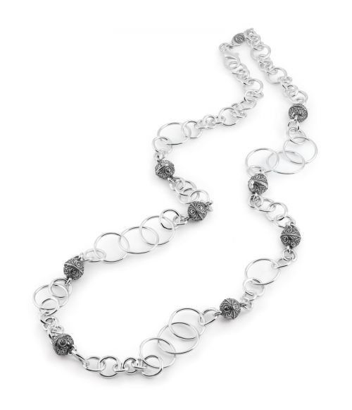 Silver Chanel Necklace with sinacles (33744)