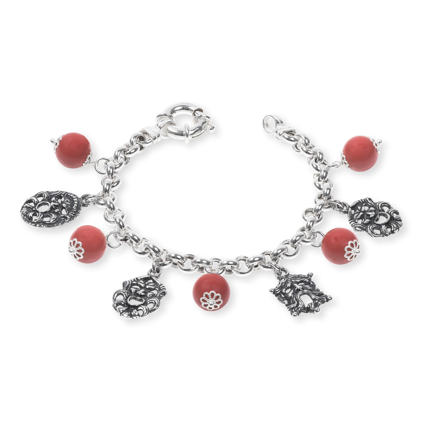 Silver Bracelet with colored stones and Masks (33687)