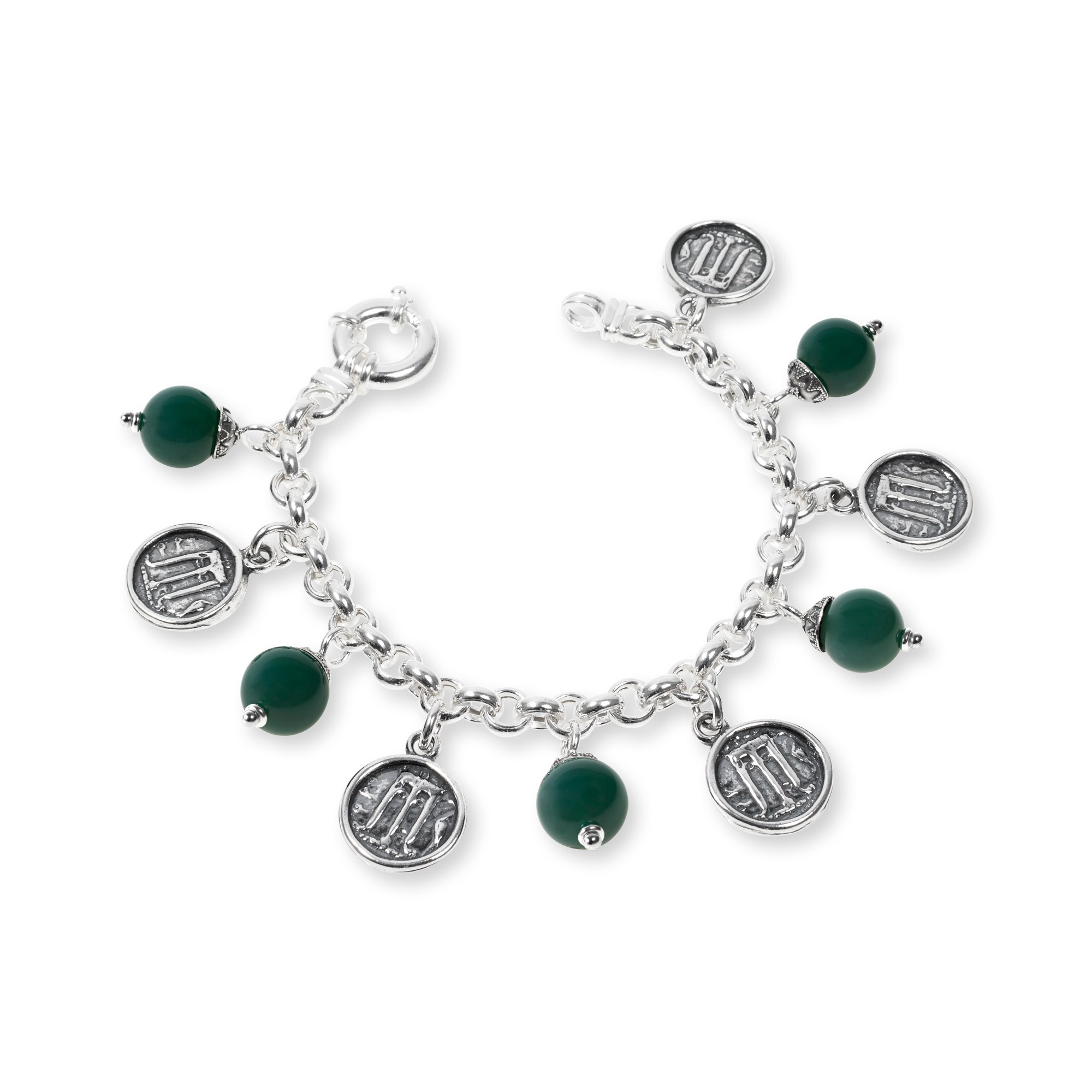 Silver Bracelet with colored stones and coins (33132)