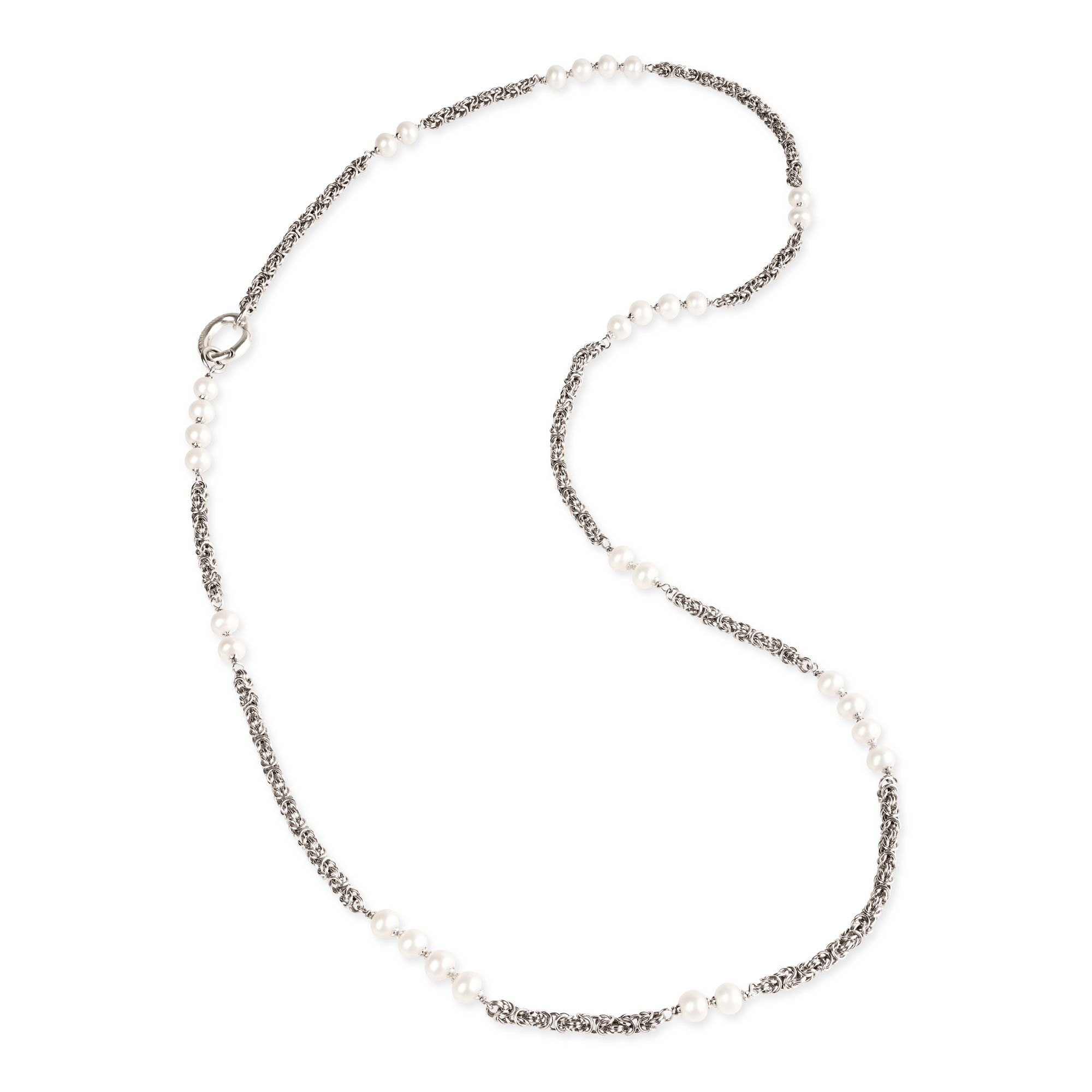 Byzantine link chain Neklace with pearls (27865)